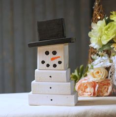 Reclaimed Wood Block Snowmen. Rustic Primitive Winter Decor. Adorable Wooden Snowman for Table Top, Mantle, Shelves or Porch. Made with Reclaimed Wood that has been Hand Painted. With Brimmed Top Hat More