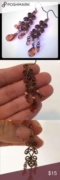 Beautiful Amber Tear Drop Dangling Earrings Beautiful amber colored dangling earrings.  For pierced ears. Jewelry Earrings