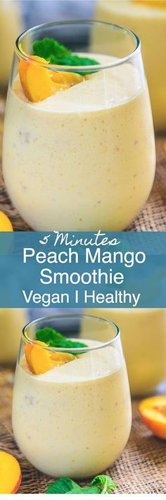Healthy Vegan Peach Mango Smoothie Recipe is a delicious and healthy choice to have for breakfast. Make it in regular milk if Almond milk is not available. Healthy I vegan I frozen I Low fat I easy I simple I best I breakfast I recipe I food I photography Peach Mango Smoothie, Mango Smoothie Recipes, Mango Recipes, Vegan Smoothies, Breakfast Smoothies, Smoothie Drinks, Fruit Smoothies, Detox Drinks, Vegan Recipes