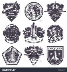 Illustration about Set of vintage space and astronaut badges, emblems, logos and labels. Illustration of astronaut, helmet, emblem - 61999085 Vintage Logo, Vintage Space, Vintage Design, Monochrome Image, Monochrome Fashion, Astronaut Cartoon, Aviation Logo, Badges, Science Images