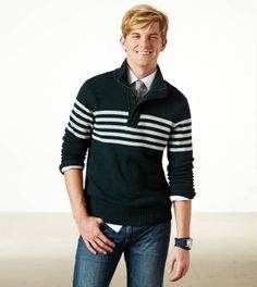 AE Striped Mock Neck Sweater