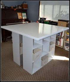Easy DIY craft table- I'm going to figure this out with Jason's help, so far is cheaper than trying to find a table I can use for crafts!