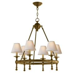 Check out this item at One Kings Lane! Castle 6-Light Chandelier Brass  sc 1 st  Pinterest & Elk Lighting Pembroke 6-light Antique Brass and Silver Drum Shade ...