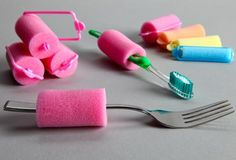 sponge hair rollers to make DIY built up utensils. GENIUS
