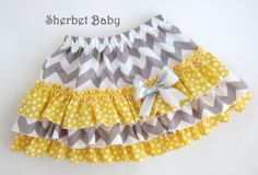Yellow & Gray Chevron with Polka Dot Ruffle Sassy by SherbetBaby, $48.00