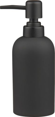 dark side of clean. Noir take on a sinkside staple dispenses modern drama. Black rubber is smooth to the touch on ceramic pump. Stoneware with black rubber coatingWipe with damp clothMade in China.
