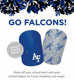 Licensed nail art to show off you school spirit!  United States Air Force Academy #basketball #marchmadness #football  Go Falcons