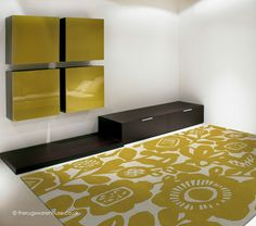 Kukkia Honey Rug (Scion), a floral contemporary rug hand-tufted from 100% wool yarn in shades of gold/yellow & cream (3 sizes) http://www.therugswarehouse.co.uk/modern-rugs3/scion-rugs/kukkia-honey-rug.html