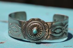 Vintage Southwestern Tribal Navajo Style Sterling Silver and Turquoise Concho Bracelet via Etsy