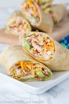 Crunchy Southwestern Chicken Wrap - easy lunch ideas are hard to come by. These chicken wraps come together in minutes, you can make them ahead, and the creamy spicy sauce makes them extra tasty! - Time To Lunch Spicy Recipes, Pork Recipes, Fish Recipes, Baby Food Recipes, Mexican Food Recipes, Appetizer Recipes, Dinner Recipes, Cooking Recipes, Healthy Recipes