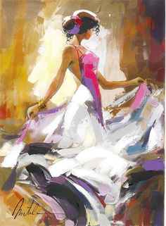 """Lady in White"" Anatole Metlan - Park West Gallery"