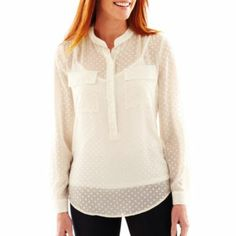Silvertone polka dots on semi-sheer white shirt at JCPenney.