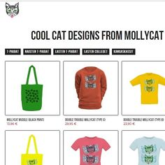 A range of apparel and tote-bags designed by Mollycat of Finland. B 13, Small Cat, Double Trouble, Cat Design, Cool Cats, Accessories Shop, Finland, Cat Lovers, Gift Ideas