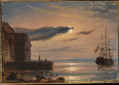 Moonlit Harbor in Southern Italy Artist: Thomas Fearnley (Norwegian, Frederikshald 1802–1842 Munich) Date: ca. 1833–35