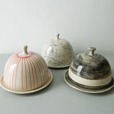 Butter dishes, plates. Handmade, pottery, ceramics, kitchen, dishware, saucer, stripes, patterns, designs.
