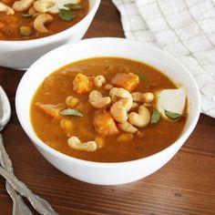 sweet potato soup + browned, buttered cashews - Girl Versus Dough