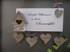 Tür- & Namensschilder - Türschild mit 4 Namen * WILLKOMMEN * Vogelhaus - ein Designerstück von farbtupferl bei DaWanda