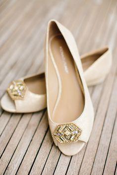 Art Deco Wedding Shoes | http://www.stylemepretty.com/2014/06/30/romantic-chicago-wedding-of-orange-is-the-new-black-star/