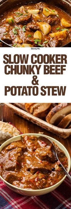 SkinnyMs.   Healthy Slow Cooker RecipesThis Slow Cooker Chunky Beef & Potato Stew is a hearty, protein-packed dish that will warm your stomach and fill you for hours. via @SkinnyMs