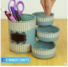 Mini organizer project for your desk - page 726979564823473655 - buzz . - Mini organizer project for your desk – Page 726979564823473655 – BuzzTMZ – - Recycle Cans, Diy Cans, Diy Organizer, Craft Organization, Tin Can Crafts, Diy Home Crafts, Stick Crafts, Creative Crafts, Diy Bottle