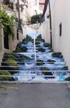 Stairs that look like a river. Street art in Bucharest 3d Street Art, Street Art Graffiti, Street Artists, Double Exposition, Graffiti Ideas, Graffiti Artists, Banksy Girl, Stair Art, New York Graffiti