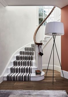 Cost Of Carpet Runners For Stairs Striped Carpet Stairs, Grey Stair Carpet, Stairway Carpet, Striped Carpets, Hall Carpet, Escalier Design, Cost Of Carpet, Hallway Designs, Hallway Ideas