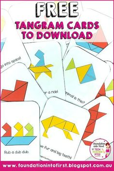 Tangram cards are a fun challenge for students. The teacher can set a timer and see how long it takes for students to complete the puzzle.This pin is about tangrams. I would use this for math center activity option.It has been an amazing school year so fa 1st Grade Math, Kindergarten Math, Teaching Math, Grade 1, Tangram Puzzles, Maths Puzzles, Math Games, Preschool Activities, Tangram Printable