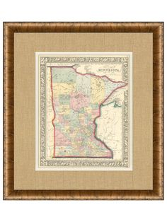 Antique Map of Minnesota,  1860's - 1880's by Historial Maps and Prints on Gilt Home  LOVE MN! :)