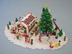 This scene was built to illustrate a contest on a French Lego forum called LEGO 13. It shows minifigs from different themes celebrating Christmas in one scene.