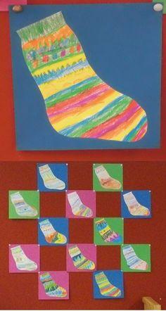 Sok. kleurpotlood op papier, sept. 2013. Groep 3, n.a.v. leren van het woordje sok.