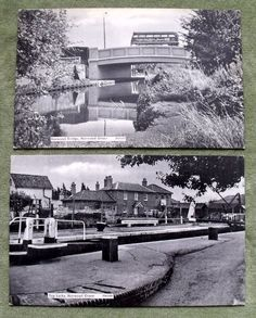 Two Photographic Postcards Featuring 1 Top Locks - Norwood Green PN4309 2 Norwood Bridge - Norwood Green PN4311 The cards measure approx 143x89mm The