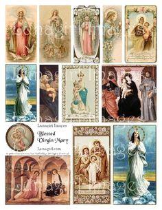 BLESSED VIRGIN MARY digital collage sheet vintage by Lunagirl, $2.95