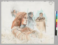 From the Online Archive of California. Courtroom sketch of Patty Hearst.  3/2/76 Patty Hearst. [In background]: F. Lee Bailey, ?Burgin [on stand].   Local Call Number:  BANC PIC 1991.012.051:82a--B  From:  [recto]: 3/2 Patty Hearst.  Collection:  Rosalie Ritz courtroom drawings  Contributing Institution:  UC Berkeley, Bancroft Library