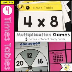 4 Times Table Multiplication - Are you looking for a fun way for students to learn and practice their multiplication facts? Try using multiplication concept cards for the 4 Times Tables. Includes 3 games, recording sheets, student study cards and a multiplication assessment. $