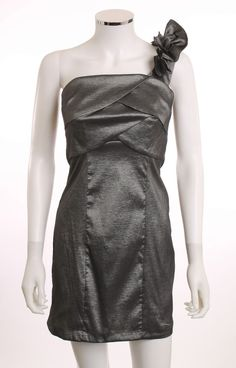 WISHES WISHES WISHES ONE SHOULDER FLORAL METALLIC GRAY COCKTAIL PARTY DRESS SZ 9 #WishesWishesWishes #OneShoulder #Cocktail $8.00