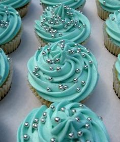 Turquoise  Silver Wedding Cupcakes for Lucy and Jamie | from the sweet kitchen