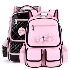 Kids Children Cute Pink School Bag, Primary Butterfly Knot Bag Backpack, Book Bags Schoolbag For Girls Birthday Gift