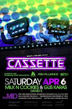 Surreal's Saturdays @ The Mid With Cazzette Opening is DJ Milk N Cookies!!!!  Gus Karas will be in VIP!!!  Mention Surreal for Ladies Comp and Guys Reduced After 2AM!! This is the Official Lumen After Party, walk one block and Say Surreal for Entry! For table specials, incredible hosted bar packages, or b-day packages please email mike@surrealchicago.com or text 630­-802­-1042