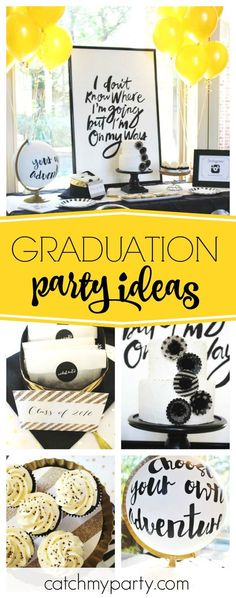 Check out this stylish Graduation party. Love the 'Choose your own Adventure' globe! See more party ideas and share yours Graduation Open Houses, 8th Grade Graduation, College Graduation Parties, Graduation Celebration, Grad Parties, Graduation Gifts, Preschool Graduation, Graduation Photos, Trunk Party