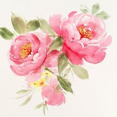 Close up of this recent freehand painting of peonies. With practices, the shape of my peonies get betterand I love this Winsor Newton Professional Quinacridone paint that gives the vibrancy of the peonies. Come and join me on 20/5 Sat 2.30-6pm for Peonies Watercolor Workshop, I will teach you how to create that layering effect. May workshops schedules are out: 13/5 Sat 2.30-6pm Mother's day Special, 10% for mom, daughter or son team and a pretty mother's day card for all participants! ... Prima Watercolor, Watercolor Illustration, Watercolor Flowers, Watercolor Paintings, Fabric Painting, Painting & Drawing, Watercolor Projects, Learn To Paint, Flower Art
