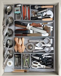 Store small hand tools together. Use bins/dividers to keep the drawer from getting jumbled.