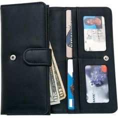 dbb7e606a98313 Womens Black Solid Genuine Leather Wallet w/ Snap Closure, Pocket ID Card  Holder