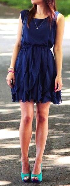 Navy Ruffle Chiffon Dress ♥
