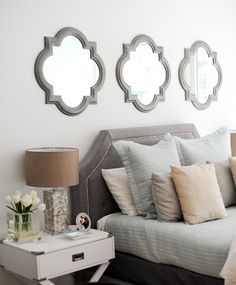 Mirror above bed ideas. Mirror above bed. Clover mirror above bed. Three clover mirrors above headboard bed. Bedroom Walls, Home Bedroom, Bedroom Ideas, Bed Ideas, Mirror Bedroom, Decor Ideas, Decorating Ideas, Headboard Ideas, Guest Bedroom Decor