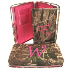"""Soft Camo Initial """" W """" Thick Flat Wallet Clutch Purse Hot Pink Camoflauge ** Want additional info? Click on the image."""