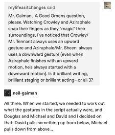 Movies Showing, Movies And Tv Shows, Jandy Nelson, Good Omens Book, Michael Sheen, Terry Pratchett, Fandoms, Neil Gaiman, Crowley