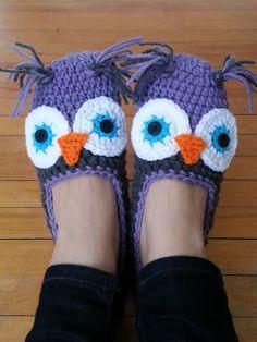 crochet owl slippers free pattern - Google Search