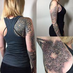 Tattoos by @feliine (Los Angeles, Ca) sacred geometry blackwork dotwork mandala armpit shot