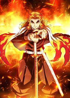 A Japanese text art inspired by Kyojuro Rengoku's Flames Breathing Style from the hit anime series Demon Slayer. Manga Anime, Anime Demon, Otaku Anime, Akira, Demon Slayer, Slayer Anime, Film D'animation, Animes Wallpapers, Fate Zero
