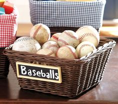 Love these baskets with chalk labels! Caleb wants a baseball room.what else could I stuff in baskets! Chalkboard Labels, Chalkboard Paint, Chalk Labels, Small Chalkboard, Kids Storage Baskets, Pantry Baskets, Playroom Organization, Playroom Ideas, Storage Bins